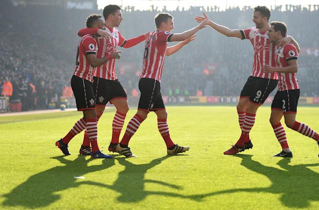 <p>Southampton's young midfielder celebrates putting the hosts 1-0 up. </p>