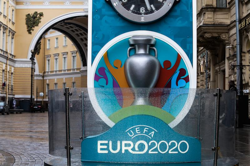 Clock showing the start time of the Euro 2020 football championship in the center of Saint Petersburg. The championship was postponed for a year due to the coronavirus epidemic. Saint Petersburg, Russia 16 March 2020 (Photo by Valya Egorshin/NurPhoto via Getty Images)