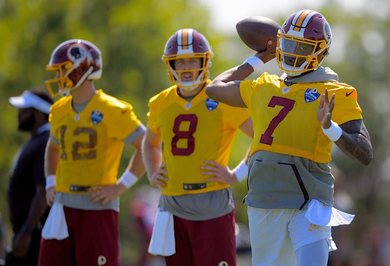 RICHMOND, VA - JULY 25: Washington Redskins quarterbacks Colt McCoy (12) , left, Case Keenum (8), center, and Washington Redskins quarterback Dwayne Haskins (7) during day 1 of summer training camp in Richmond, VA on July 25, 2019 . (Photo by John McDonnell/The Washington Post via Getty Images)