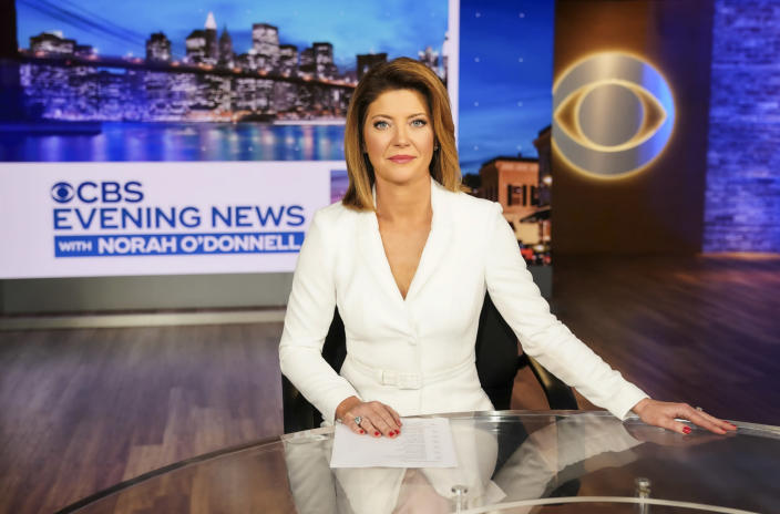 """This image released by CBS shows Norah O'Donnell, host of the new """"CBS Evening News with Norah O'Donnell."""" O'Donnell says she's """"never covered a year in my entire journalistic career like this last year."""" From the ongoing COVID global pandemic and George Floyd protests around the world to the contested 2020 presidential and last week's storming of the U.S. capitol by armed insurgents, O'Donnell concluded that """"journalism is more important than ever."""" (Michele Crowe/CBS via AP)"""