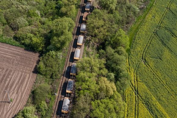 Overhead shot of rail freight cars.