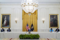 President Joe Biden speaks during a meeting about cybersecurity in the East Room of the White House, Wednesday, Aug. 25, 2021, in Washington. (AP Photo/Evan Vucci)