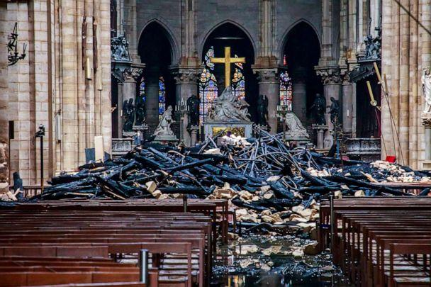 PHOTO: A view of the debris inside Notre-Dame de Paris in the aftermath of a fire that devastated the cathedral in Paris, April 16, 2019. (Pool/Christophe Petit Tesson/Pool via Reuters, FILE)