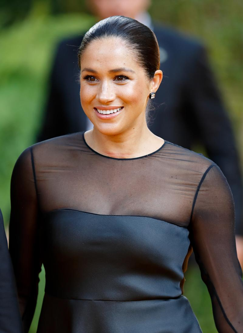"LONDON, UNITED KINGDOM - JULY 14: (EMBARGOED FOR PUBLICATION IN UK NEWSPAPERS UNTIL 24 HOURS AFTER CREATE DATE AND TIME) Meghan, Duchess of Sussex attends ""The Lion King"" European Premiere at Leicester Square on July 14, 2019 in London, England. (Photo by Max Mumby/Indigo/Getty Images)"