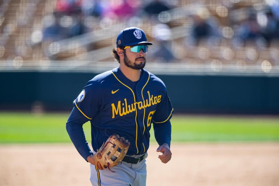 Outfielder Dylan Cozens played for the Milwaukee Brewers in spring training this year before being sent to the minors.