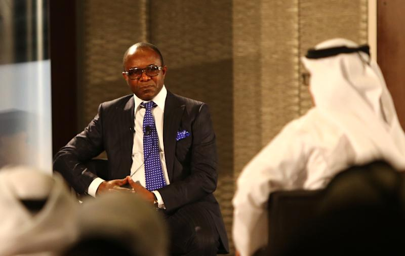 Nigerian oil minister Emmanuel Ibe Kachikwu (L) speaks during the UAE Energy Forum meeting in Abu Dhabi, on January 12, 2016 (AFP Photo/Marwan Naamani)
