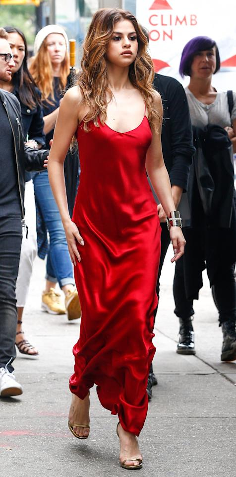 "<p>There's nothing more sexy than a slinky siren-red slip dress. </p> <p>$595 | <a rel=""nofollow"" href='http://click.linksynergy.com/fs-bin/click?id=93xLBvPhAeE&subid=0&offerid=293189.1&type=10&tmpid=12371&RD_PARM1=http%3A%2F%2Fwww.barneys.com%2Fproduct%2Fnili-lotan-silk-charmeuse-slip-gown-504835224.html&u1=ISFASHIONNILILOTANAC'>barneys.com</a></p>"