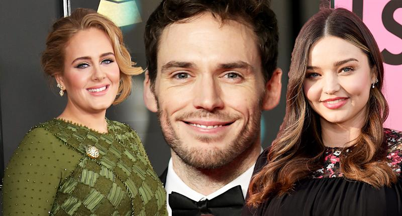 (From left to right) Singer Adele, actor Sam Claflin and model Miranda Kerr are just some examples of dimpled celebrities. [Photo: Getty]