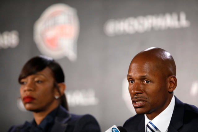 Ray Allen donated 30 computers and furniture to Lake Stevens Middle School in Miami. (AP Photo/Charlie Neibergall)