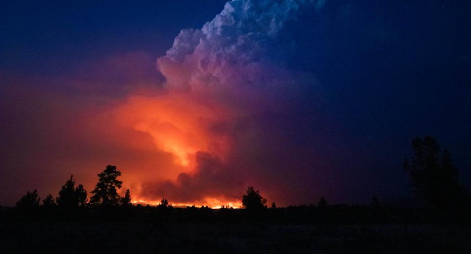 A photo of the Bootleg Fire taken by US firefighters as they face challenging conditions and continue to work around the clock to contain the huge blaze. Source: Oregon Office of State Fire Marshal