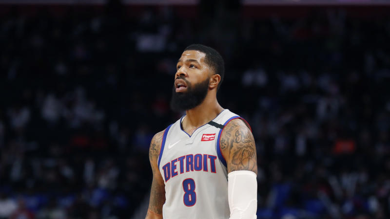 Detroit Pistons forward Markieff Morris walks on the court during the second half of an NBA basketball game, Monday, Jan. 27, 2020, in Detroit. (AP Photo/Carlos Osorio)