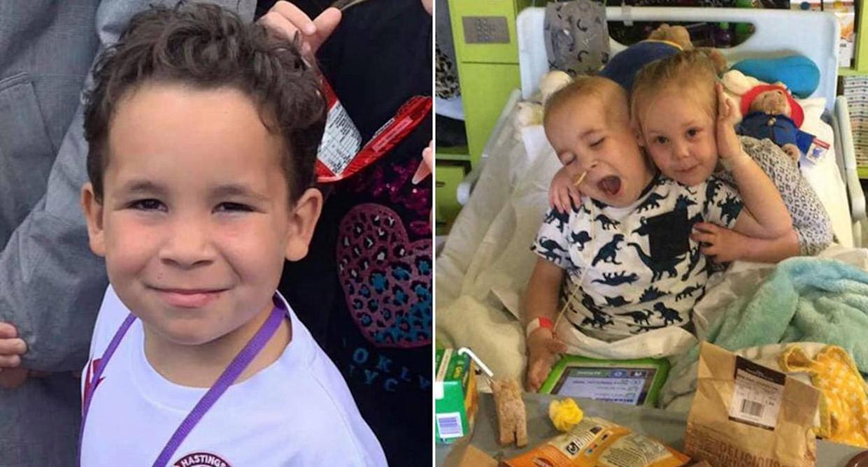 Denny and his sister Marney, who were both diagnosed with Leukaemia (Picture: Facebook)