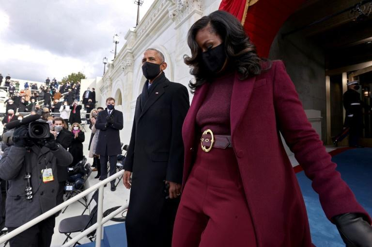 Former US president Barack Obama and Former US first lady Michelle Obama arrive for the inauguration of Joe Biden as the 46th US President on January 20, 2021, at the US Capitol in Washington, DC