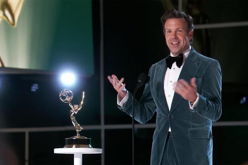 """<p><a href=""""https://people.com/tv/2021-emmy-awards-jason-sudeikis-jokes-about-lorne-michael-in-acceptance-speech/"""" rel=""""nofollow noopener"""" target=""""_blank"""" data-ylk=""""slk:took home his first Emmy"""" class=""""link rapid-noclick-resp"""">took home his first Emmy</a> for outstanding lead actor in a comedy series for playing the titular role in the Apple TV+ show, <em>Ted Lasso</em>. </p> <p>Sudeikis teared up as he accepted the award, saying, """"I would say that, you know, this show is about family. The show is about mentors and teachers. This show is about teammates — and I wouldn't be here without those three, you know, things in my life."""" </p>"""