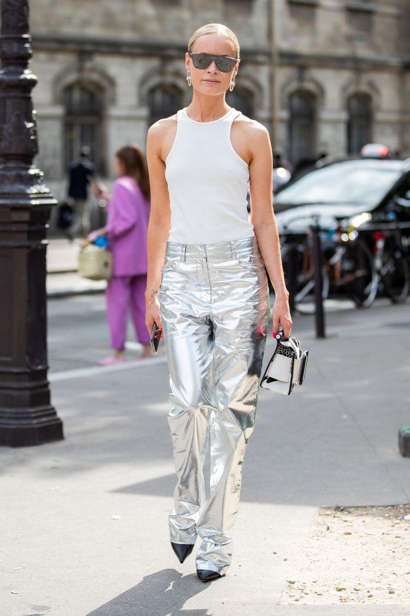 <p>Metallic is a summer mainstay for a reason. It's fresh, crisp and instantly takes any outfit from 'cool' to 'damn chic'. These trousers are a neat example if you feel like going all-out, but a silver pair of pumps or bag will work just as well.</p>