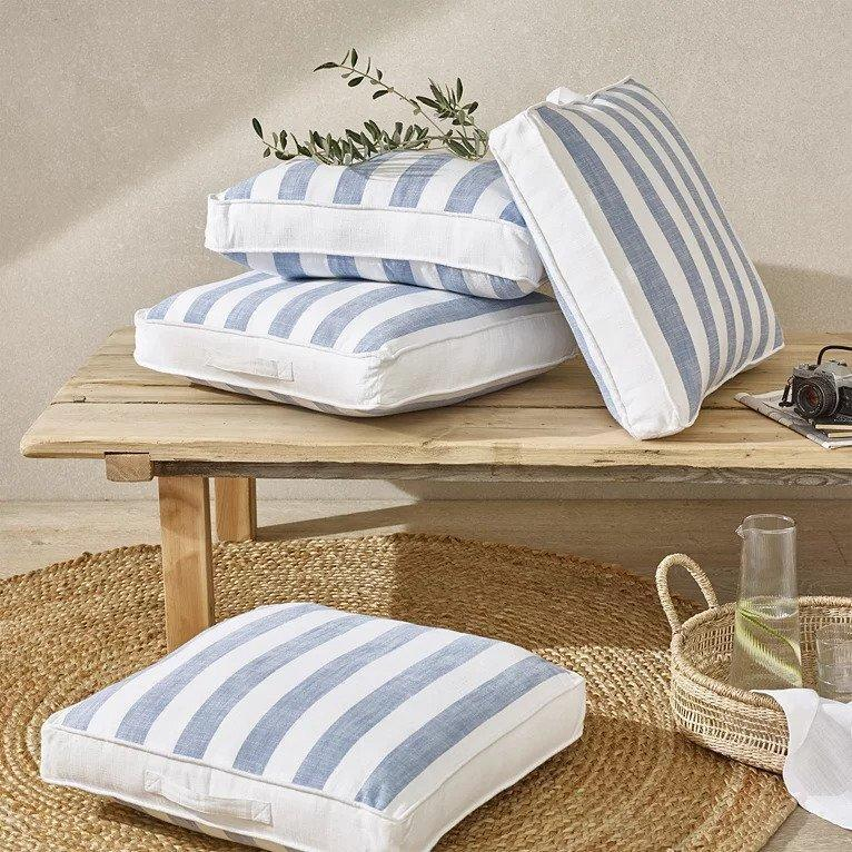 The White Company Wide Blue Stripe Scatter Cushion