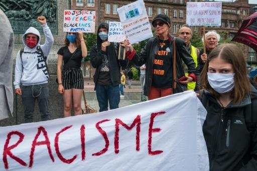 Racial justice protests have spread from the United States to Europe, including this mid-June 2020 demo in Strasbourg, eastern France