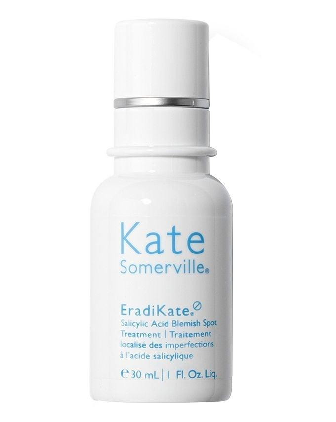 "For treating the odd spot, it has to be this stuff. Two percent salicylic acid deflates hormonal breakouts in a matter of moments. <br><br><strong>Kate Somerville</strong> EradiKate Salicylic Acid Blemish Treatment, $, available at <a href=""https://www.cultbeauty.co.uk/kate-somerville-eradikate-salicylic-acid-blemish-treatment.html"" rel=""nofollow noopener"" target=""_blank"" data-ylk=""slk:Cult Beauty"" class=""link rapid-noclick-resp"">Cult Beauty</a>"