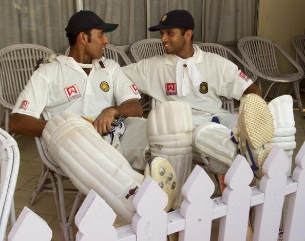 14 Mar 2001:   VVS Laxman (left) and Rahul Dravid of India reflect on their record breaking partnership, after day four of the 2nd Test between India and Australia played at Eden Gardens, Calcutta, India. X DIGITAL IMAGE  Mandatory Credit: Hamish Blair/ALLSPORT