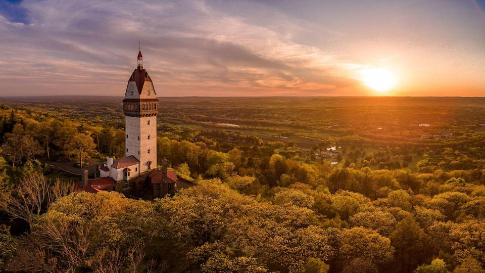 <p>The sunset of Heublein Tower Avon, Connecticut.</p>