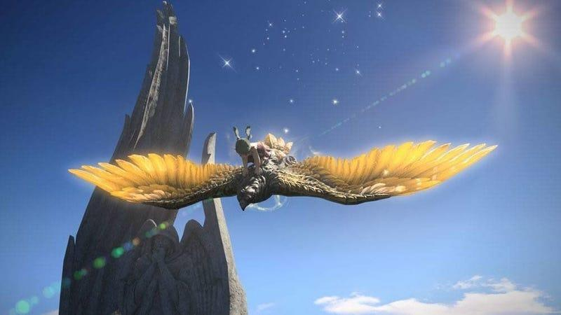 a human with ears riding a big bird in the sky in final fantasy xiv