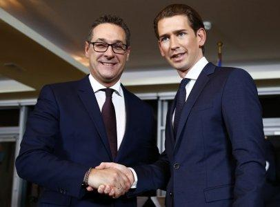 Head of the Freedom Party (FPOe) Heinz-Christian Strache (L) and head of the People's Party (OeVP) Sebastian Kurz shake hands after a news conference in Vienna, Austria, December 16, 2017. REUTERS/Leonhard Foeger