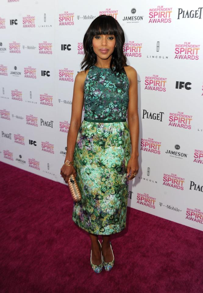 SANTA MONICA, CA - FEBRUARY 23:  Actress Kerry Washington attends the 2013 Film Independent Spirit Awards at Santa Monica Beach on February 23, 2013 in Santa Monica, California.  (Photo by Kevin Winter/Getty Images)