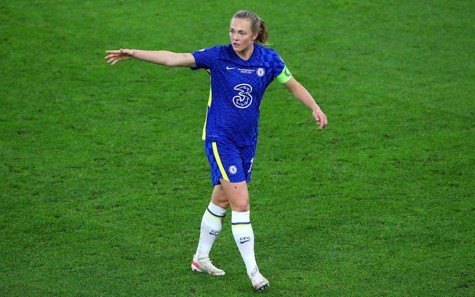 Magdalena Eriksson of Chelsea gives instructions during the UEFA Women's Champions League Final match between Chelsea FC and Barcelona - Getty Images