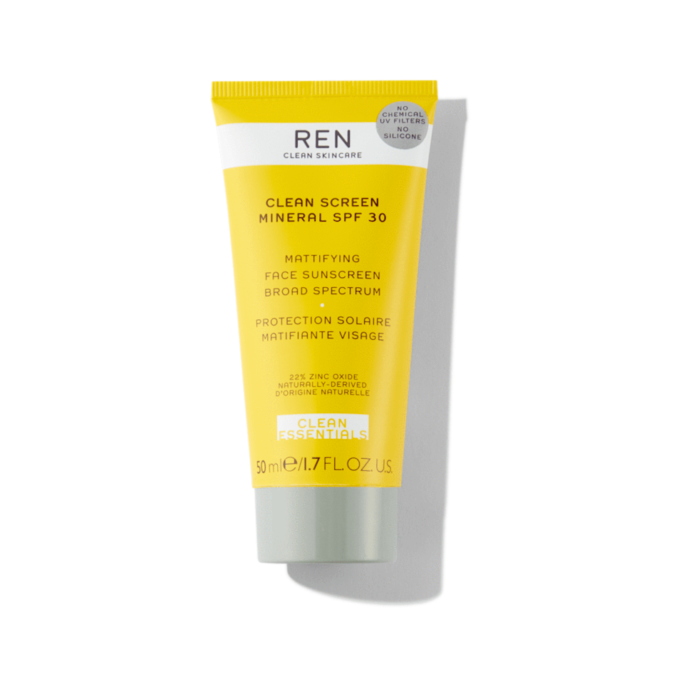 "<h3>REN Clean Screen Mineral SPF 30 Mattifying Face Sunscreen</h3> <p>In terms of delivering sun protection that's both non-greasy and squeaky clean, this broad-spectrum SPF 30 bests them all. Naturally-derived rice starch controls oil throughout the day while aloe hydrates and calms; plus, the sunshine-y tube itself is made with 50% recycled plastic and is mono-material, which means it can be recycled all together easily rather than separated into parts.</p> <br> <br> <strong>REN</strong> Clean Screen Mineral SPF 30 Mattifying Face Sunscreen, $36, available at <a href=""https://usa.renskincare.com/products/clean-screen-mineral-spf-30-mattifying-face-sunscreen"" rel=""nofollow noopener"" target=""_blank"" data-ylk=""slk:REN Clean Skincare"" class=""link rapid-noclick-resp"">REN Clean Skincare</a>"