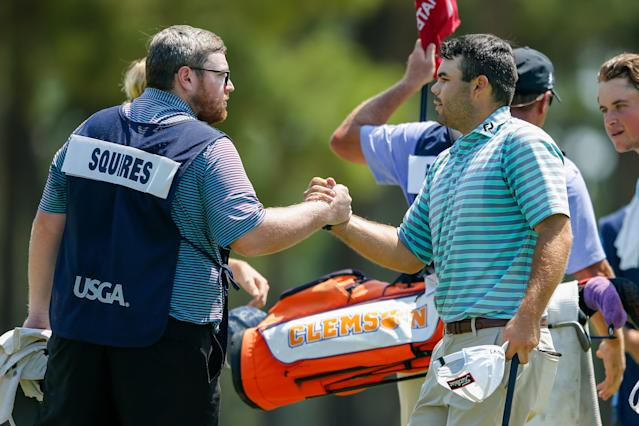 "<h1 class=""title"">austin-squires-us-amateur-playoff</h1> <div class=""caption""> Squires makes par on the fourth playoff hole to get into match play as the 64th seed. </div> <cite class=""credit"">Copyright USGA/Michael Reaves</cite>"