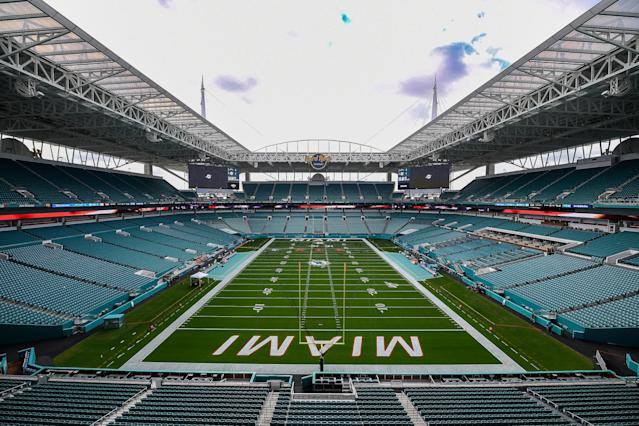 230 cars will fit onto the Dolphins' field at Hard Rock Stadium. (Photo by Mark Brown/Getty Images)