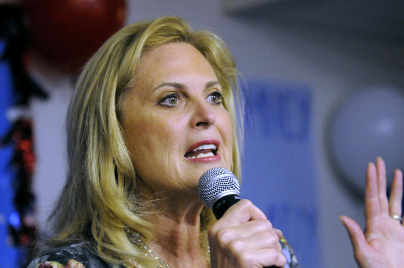 "FILE - In this March 1, 2012 file photo, Ann Romney, wife of Republican presidential candidate, former Massachusetts Gov. Mitt Romney, speaks in Atlanta. Is the 2012 election shaping up to be all about women? Democrats are accusing the GOP of a ""war against women"" after the Republicans reignited a national debate over cultural issues, including birth control. President Barack Obama says the Democrats have the best story to tell female voters. But Republicans _ including Ann Romney and Alaska Sen. Lisa Murkowski _ say their party will win by focusing on women's top issue: the economy.  (AP Photo/David Tulis)"