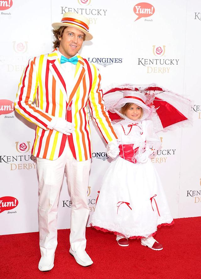 "<p>Dad and daughter chose a Mary Poppins theme for their 2013 ensembles. She was Mary, of course, and he was Bert, just as audiences saw them in the ""Jolly Holiday"" section of the classic Disney movie. (Photo: Michael Loccisano/Getty Images) </p>"