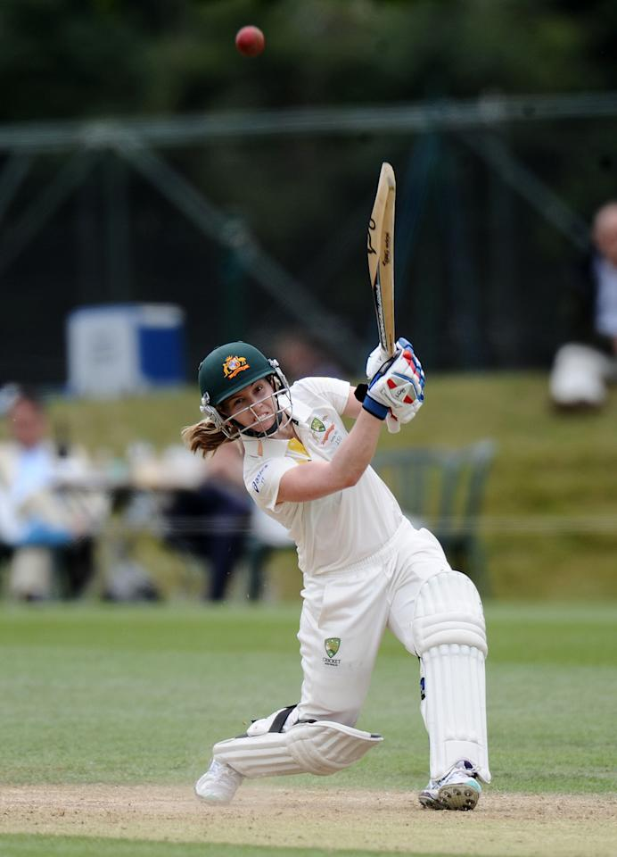 Australia's Jodie Fields bats during day four of the First Women's Ashes test match at Wormsley Cricket Ground, High Wycombe.