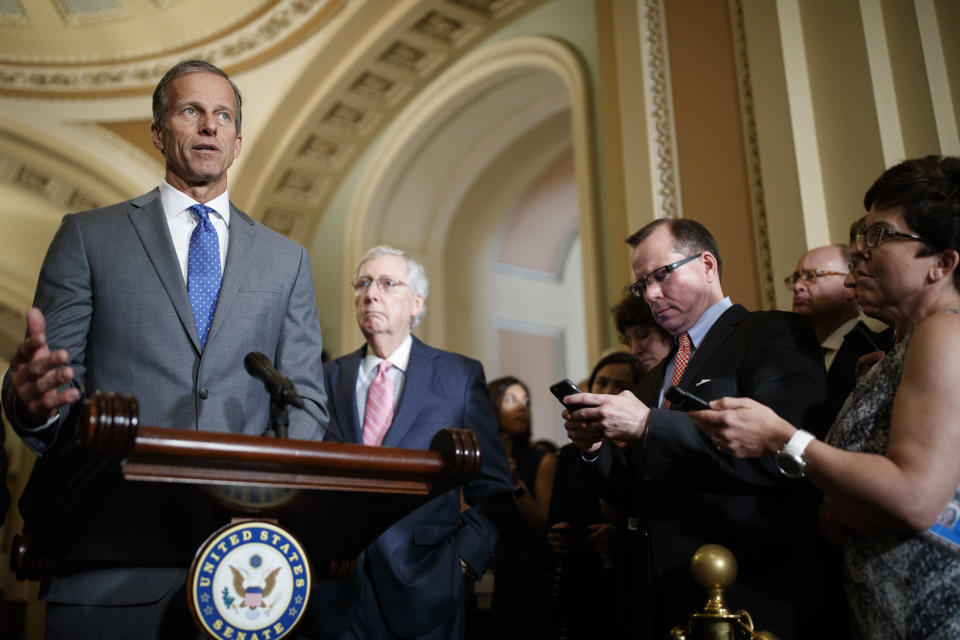 WASHINGTON, DC - JUNE 25: Senate Majority Whip John Thune (R-S.D.) delivers remarks during the Weekly Senate Policy Luncheon Press Conferences on June 25, 2019 on Capitol Hill in Washington, DC. (Photo by Tom Brenner/Getty Images)