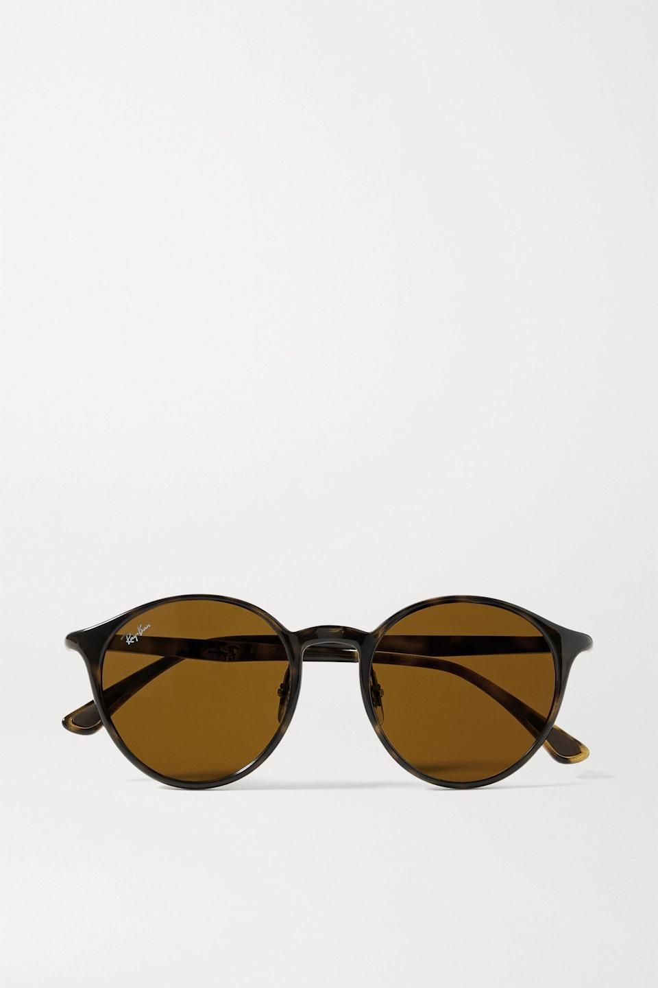 """<p><strong>Ray-Ban</strong></p><p>net-a-porter.com</p><p><a href=""""https://go.redirectingat.com?id=74968X1596630&url=https%3A%2F%2Fwww.net-a-porter.com%2Fen-us%2Fshop%2Fproduct%2Fray-ban%2Faccessories%2Fround-frame%2Fround-frame-tortoiseshell-acetate-sunglasses%2F2009603006213&sref=https%3A%2F%2Fwww.harpersbazaar.com%2Ffashion%2Ftrends%2Fg36597917%2Fnet-a-porter-sale-spring-2021%2F"""" rel=""""nofollow noopener"""" target=""""_blank"""" data-ylk=""""slk:Shop Now"""" class=""""link rapid-noclick-resp"""">Shop Now</a></p><p><strong><del>$165</del> $83 (50% off)</strong></p>"""