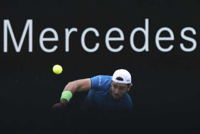 Matteo Berrettini of Italy in action against Canada's Felix Auger-Aliassime in the ATP Tennis tournament in Stuttgart, Germany, Sunday June 16, 2019. (Silas Stein/dpa via AP)