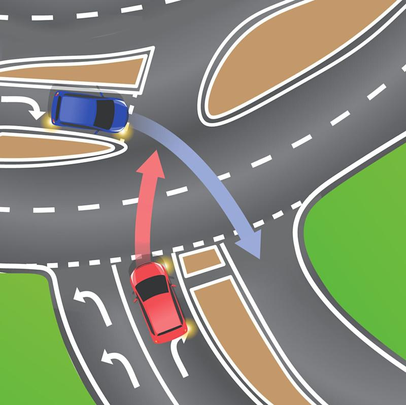 Who should go first, the red car or the blue car? Source: Department of Transport and Main Roads (Queensland) / Facebook