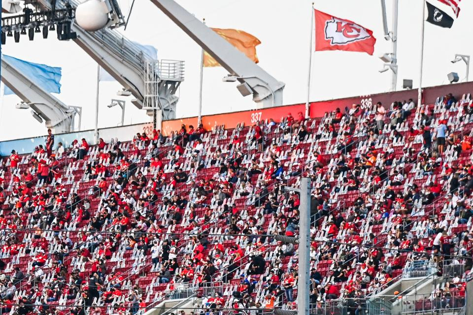 Fans sit socially distanced at the Super Bowl match between Kansas City Chiefs and Tampa Bay Buccaneers in Tampa, Florida on February 7, 2021. (Photo by CHANDAN KHANNA / AFP) (Photo by CHANDAN KHANNA/AFP via Getty Images)