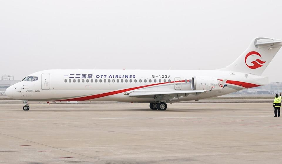 An ARJ21 aircraft of One Two Three Airlines (OTT Airlines) heads for a designated area before performing its first flight at Shanghai Hongqiao International Airport in Shanghai, east China on December 28, 2020. The ARJ21 is manufactured by the Commercial Aircraft Corporation of China (Comac). Photo: Xinhua