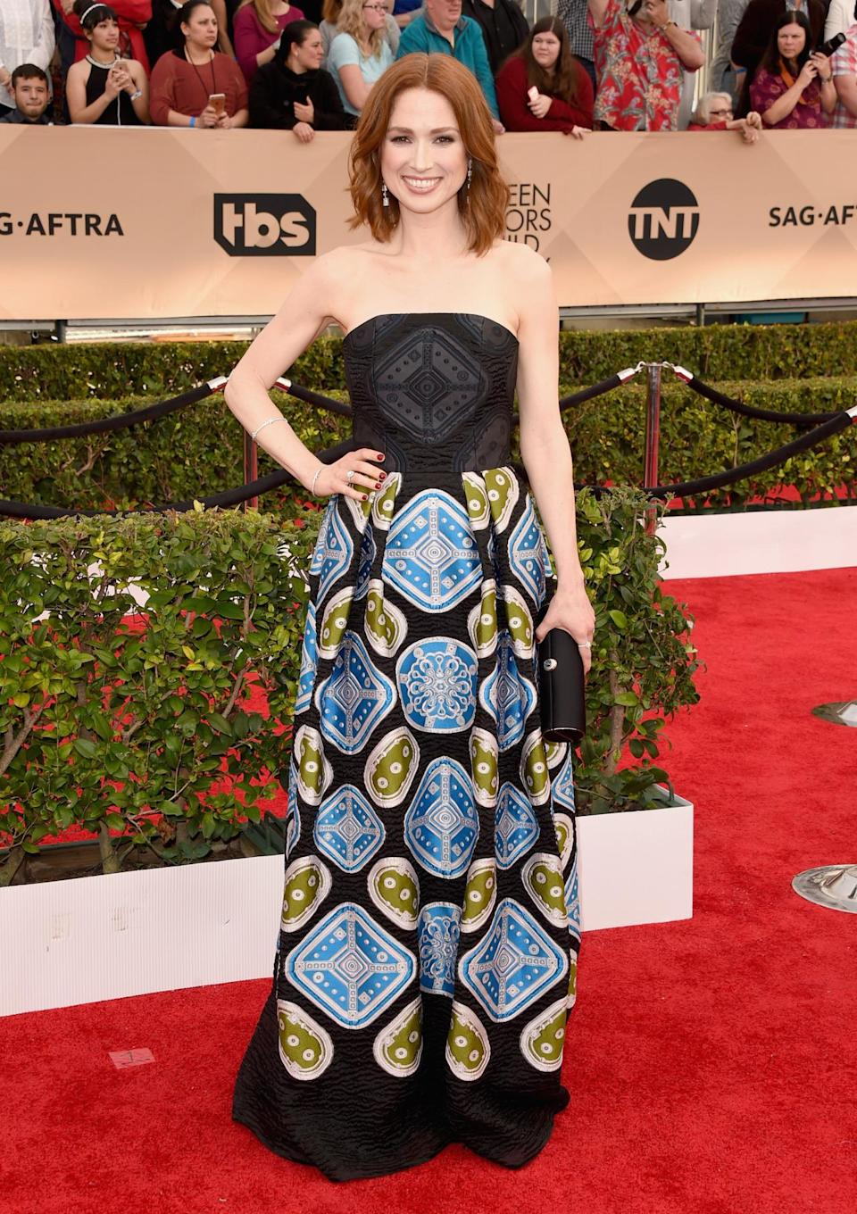 <p>Ellie Kemper said of her funky Peter Pilotto that it made her feel 10 times younger and ten times cooler than she thinks she actually is. <i>Photo: Getty Images</i></p>