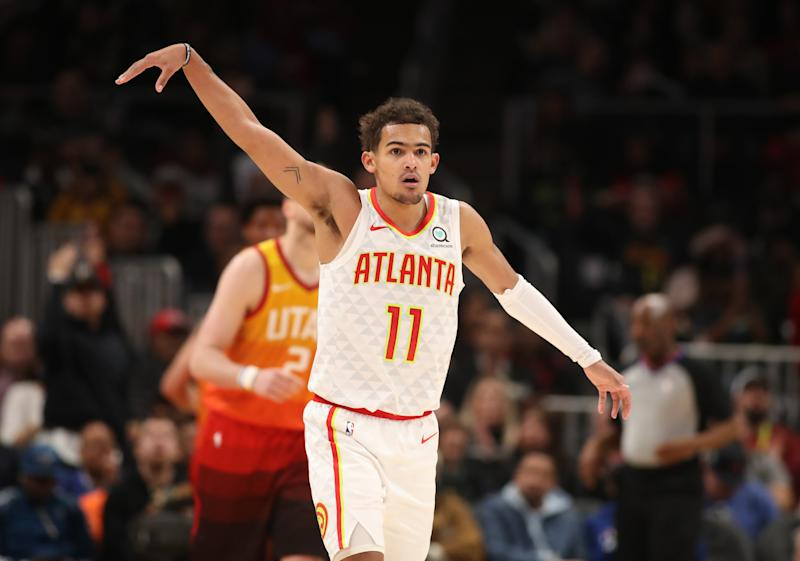 Dec 19, 2019; Atlanta, GA, USA; Atlanta Hawks guard Trae Young (11) reacts after making a three point basket against the Utah Jazz at in the second half State Farm Arena. Mandatory Credit: Jason Getz-USA TODAY Sports