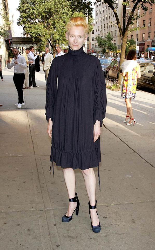 "Tilda Swinton strikes again! The androgynous actress, best known for her Oscar-winning role in ""Michael Clayton,"" attended the premiere of ""I Am Love"" at the School of Visual Arts Theater in yet another unflattering, trash bag-like look. Jim Spellman/<a href=""http://www.wireimage.com"" target=""new"">WireImage.com</a> - June 16, 2010"