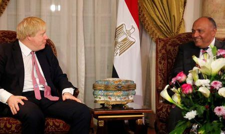 Egyptian foreign minister Sameh Shoukry (R) meets with British Foreign Secretary Boris Johnson at Tahrir Palace in Cairo, Egypt February 25, 2017. REUTERS/Amr Abdallah Dalsh