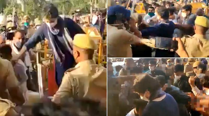 Priyanka Gandhi Comes to Protect Congress Worker During Lathi Charge by UP Policemen, Watch Video