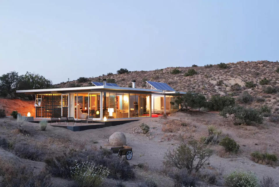 "<p>Planning a US road trip? Make sure to make Yucca Valley a pitstop in order to check out Off-grid ItHouse in California. Ideal for those looking to switch off, the glass property is situated in the middle of the desert.<br>Described as a cross between a ""luxury cabin and a spaceship"", the architectural delight is a must-see for design nerds. But you'll have to hold off on any holiday spam, as there's no wifi at the property. <strong><a href=""https://www.airbnb.co.uk/rooms/19606"" rel=""nofollow noopener"" target=""_blank"" data-ylk=""slk:Book now"" class=""link rapid-noclick-resp"">Book now</a></strong>. <em>[Photo: Caters]</em> </p>"