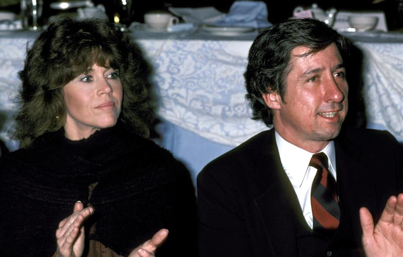 Jane Fonda and Tom Hayden during Founders Award Dinner at Beverly Hilton Hotel in Beverly Hills, California, United States. (Photo by Ron Galella/Ron Galella Collection via Getty Images)