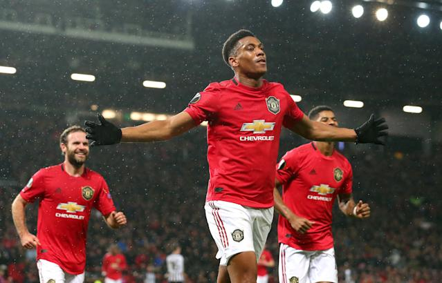 Martial celebrates consecutive goals in the Europa League (Photo by Alex Livesey/Getty Images)