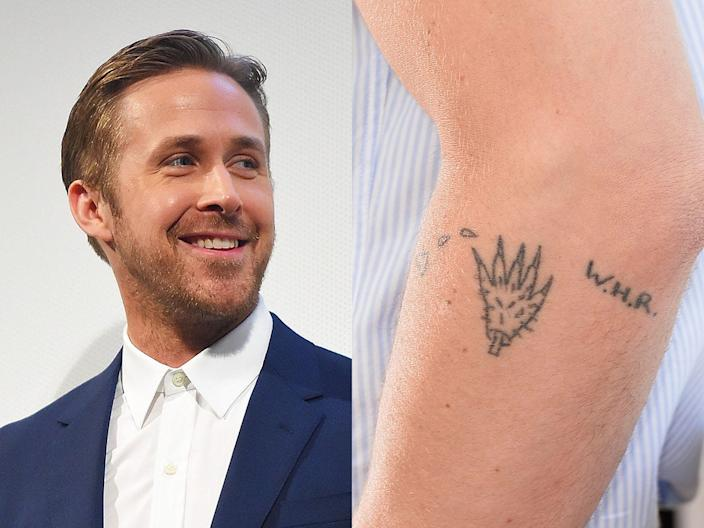 Ryan Gosling has a tattoo on his arm.