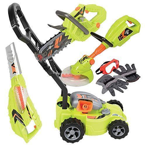 """<p><strong>Constructive Playthings</strong></p><p>amazon.com</p><p><strong>$89.91</strong></p><p><a href=""""https://www.amazon.com/dp/B002S3VP1U?tag=syn-yahoo-20&ascsubtag=%5Bartid%7C2089.g.37090434%5Bsrc%7Cyahoo-us"""" rel=""""nofollow noopener"""" target=""""_blank"""" data-ylk=""""slk:Shop Now"""" class=""""link rapid-noclick-resp"""">Shop Now</a></p><p>Are you or your partner Home Depot regulars? If that's the case, the chances are likely that your kid wants more than just a mower. Luckily, this set includes multiple gardening options, including a leaf blower, chainsaw, weed whacker, mower, gloves, and goggles. (I mean, safety first, obviously.)</p><p>The set is quite impressive, with light-up, spinning, and very realistic toys. A total of eleven AAA batteries are required to power this set.</p>"""